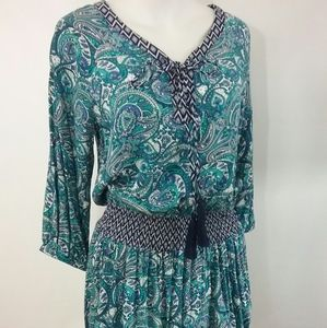Paisley Peasant Top Smocked Waist Lace Up Front